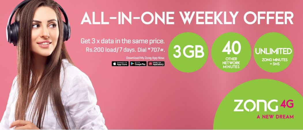Zong All in One Weekly package 2022