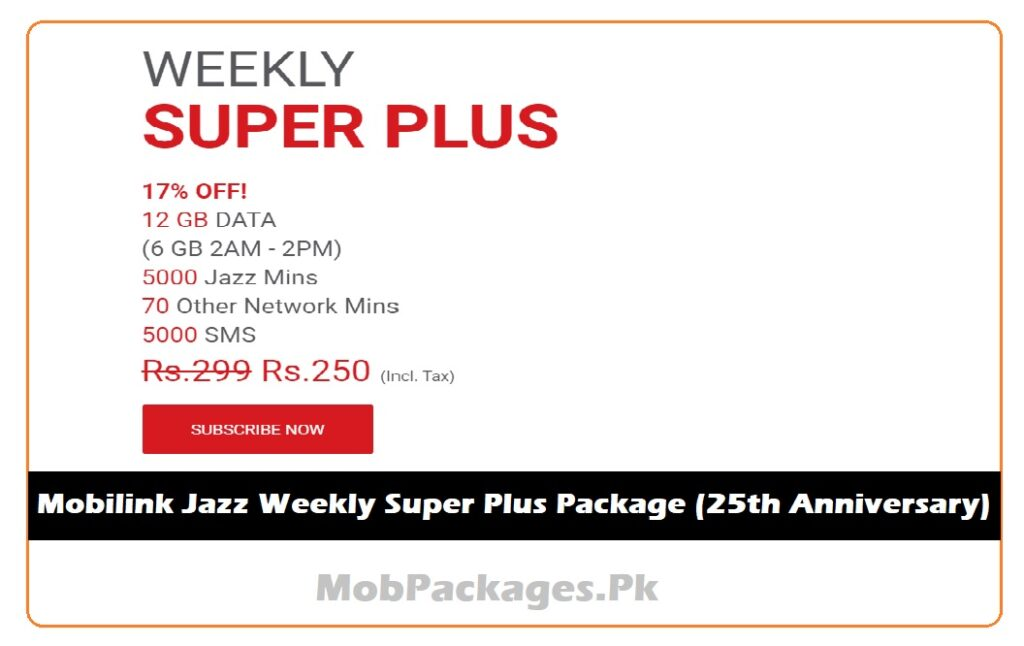 Mobilink Jazz Weekly Super Plus Package (25th Anniversary)
