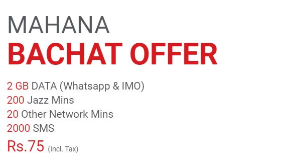 Mobilink Jazz Monthly Bachat Offer 2021