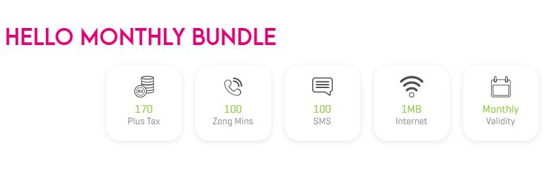Zong Hello Package Monthly 2021